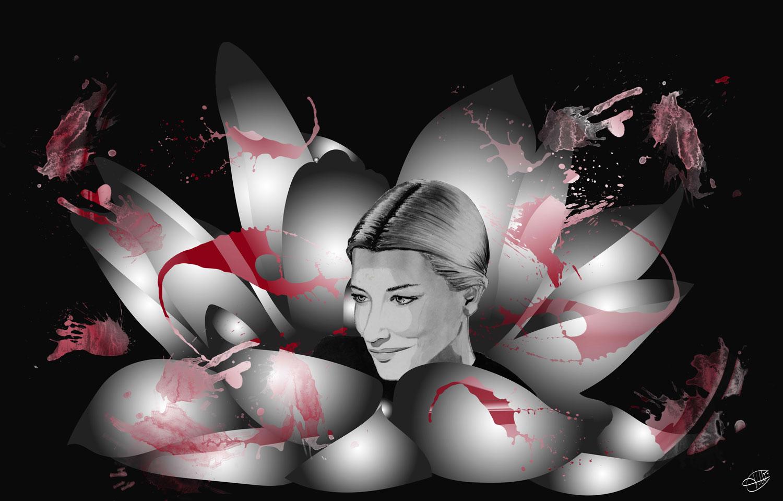 photo montage representant Cate Blanchett dans une fleur tachee