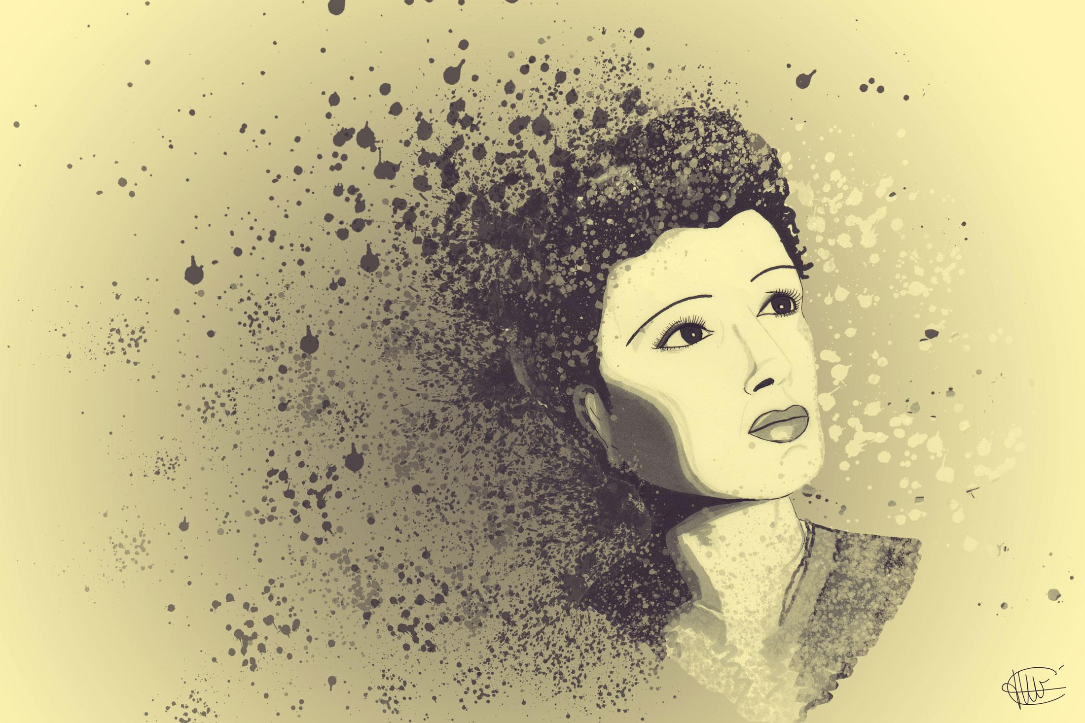 Dessin d Edith Piaf monte en effet dispersion par cecile jonquiere - cecile jonquieres
