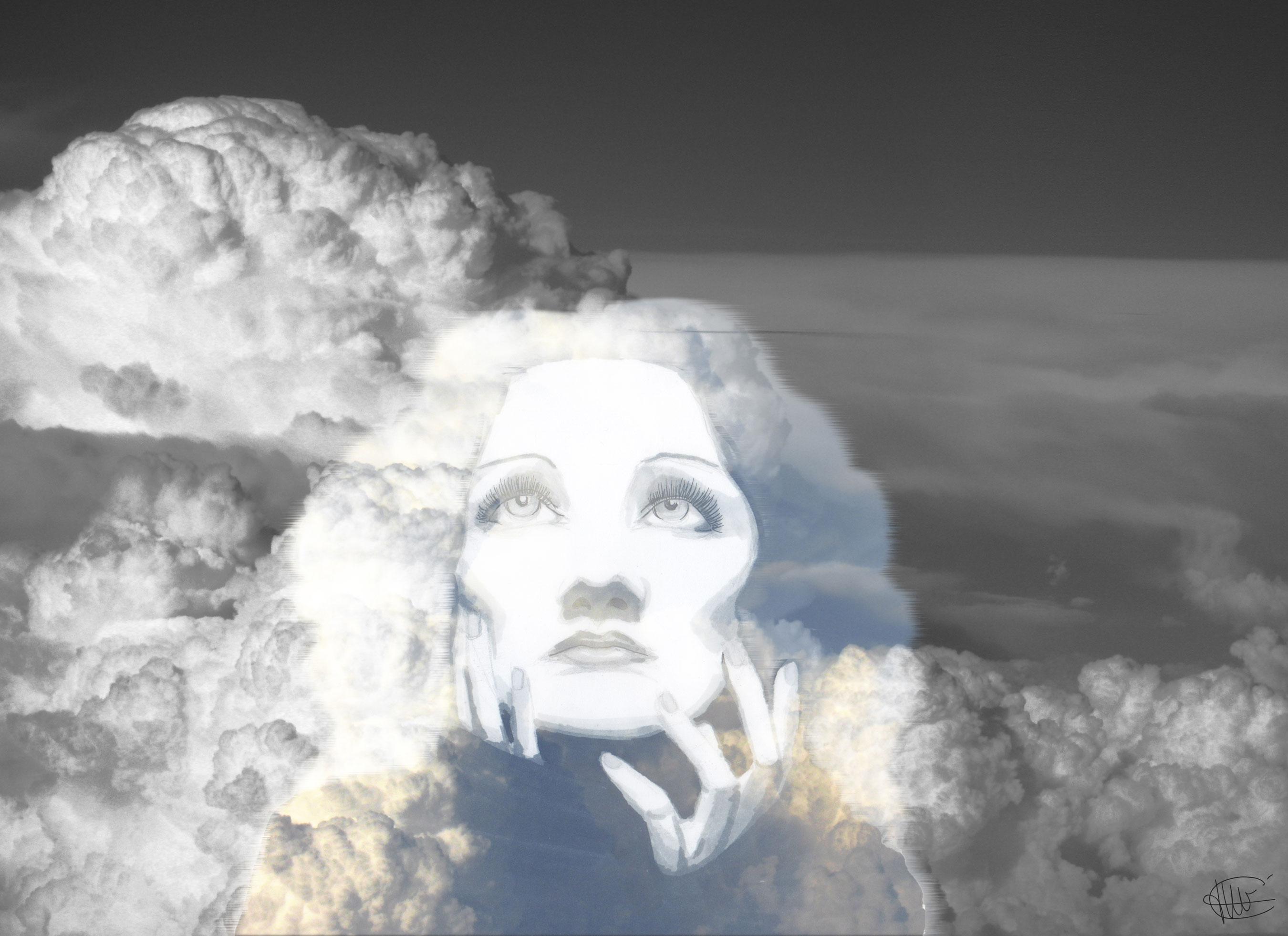 Dessin de Marlene Dietrich monté en double exposition sur un ciel nuageux réalisé par cecile jonquiere - cecile jonquieres