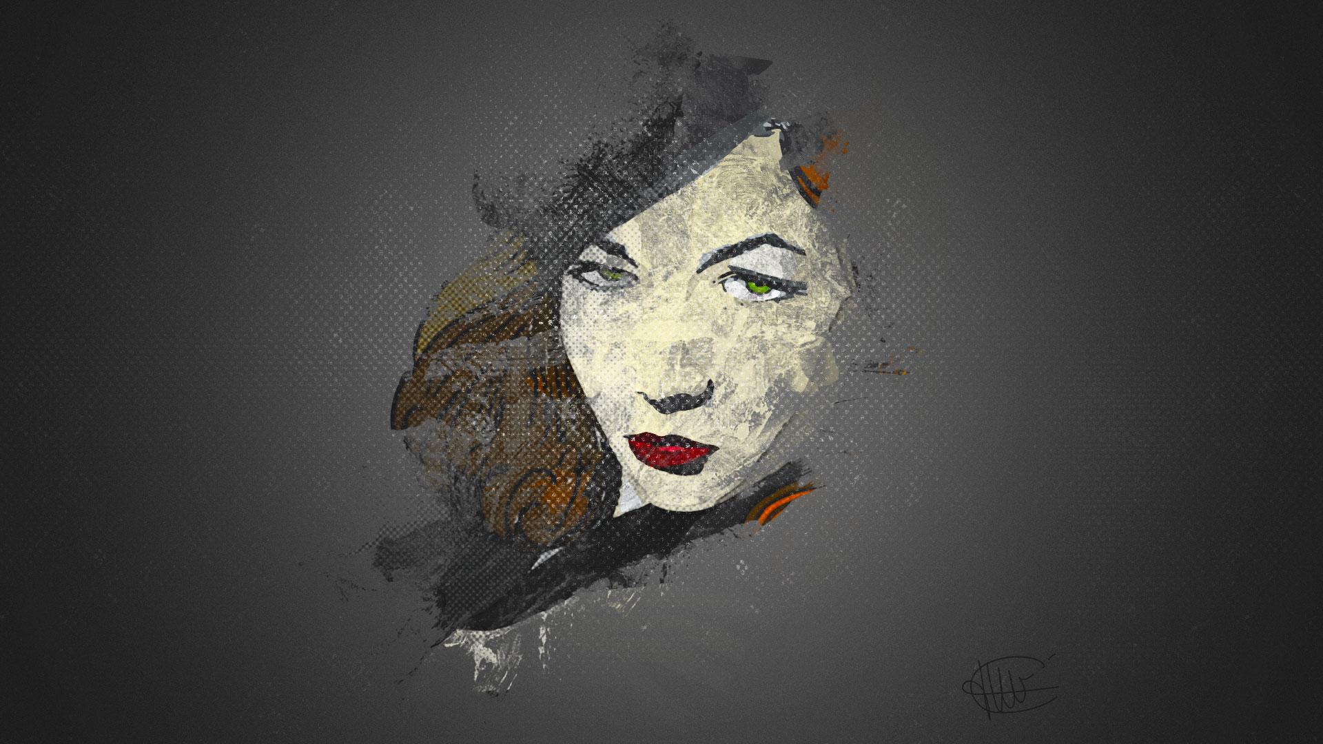 Dessin de Lauren Bacall colorisé sur Illustrator avec effet halftone réalisé sur photoshop par cecile jonquiere - cecile jonquieres