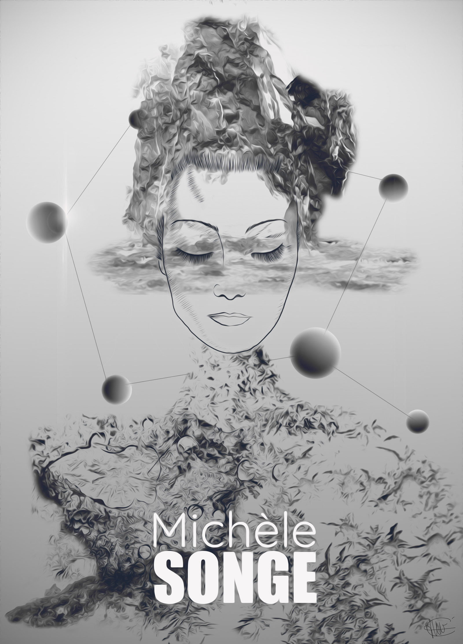 affiche michele songe dessin de michele morgan en photo montage