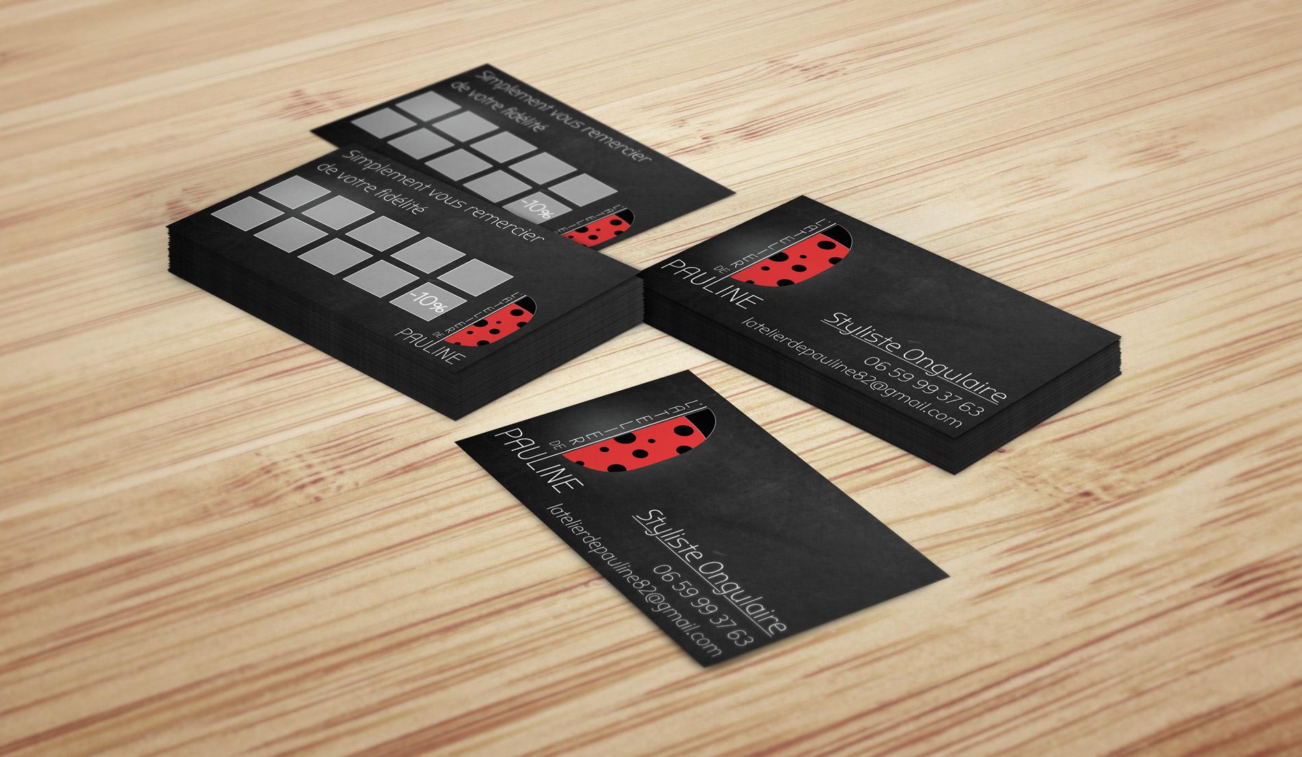 presentation carte de visite de l atelier de pauline styliste ongulaire avec une coccinelle en logo réalisé par cecile jonquiere - cecile jonquieres